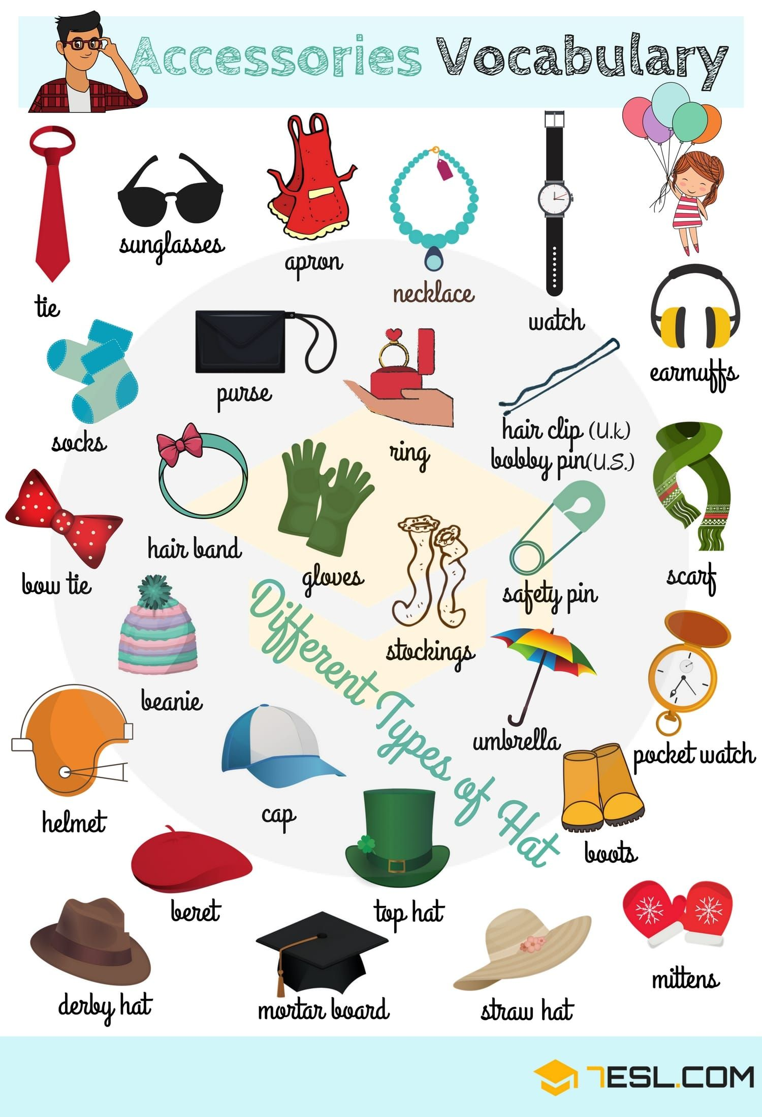 List Of Accessories With Pictures Accessories Names Hat Names 7esl English Vocabulary Learn English Vocabulary