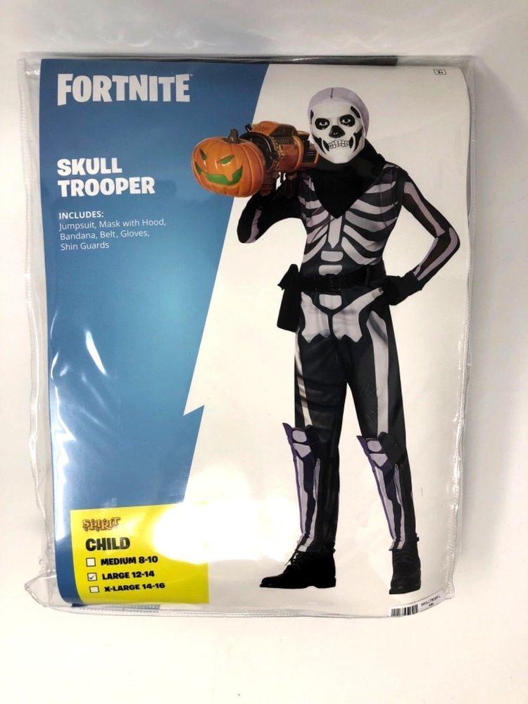 Fortnite Skull Trooper Kids Size M or L Halloween Costume IN