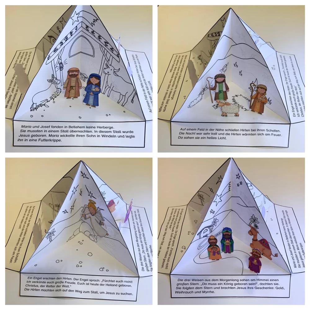 Weihnachts-Quadrama - Weihnachten - Quadrama - Weihnachtsgeschichte - Jesus wird geboren – Unterrichtsmaterial in den Fächern Fachübergreifendes & Kita & Kunst & Religion