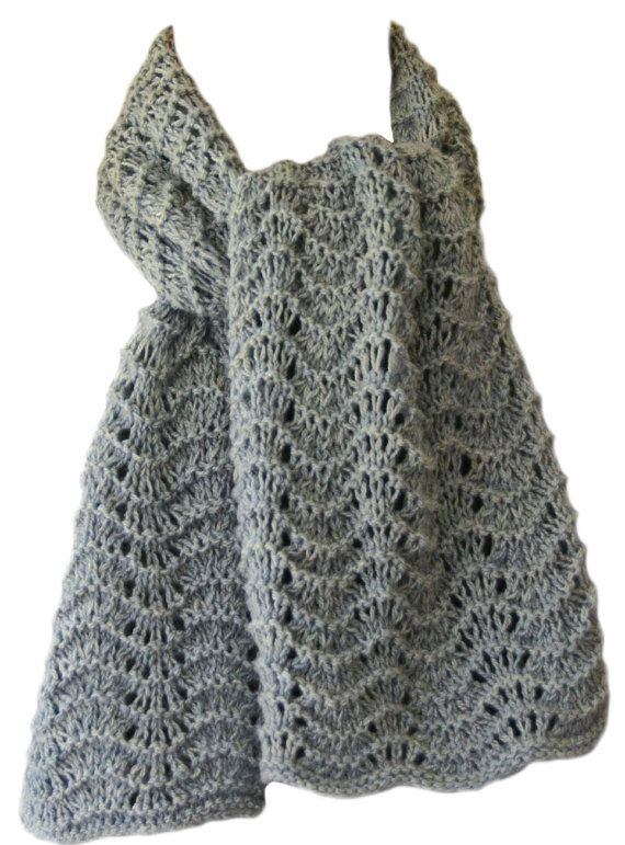 Hand Knit Scarf Grey Things Past Cashmere by StudioatRedTopRanch ...