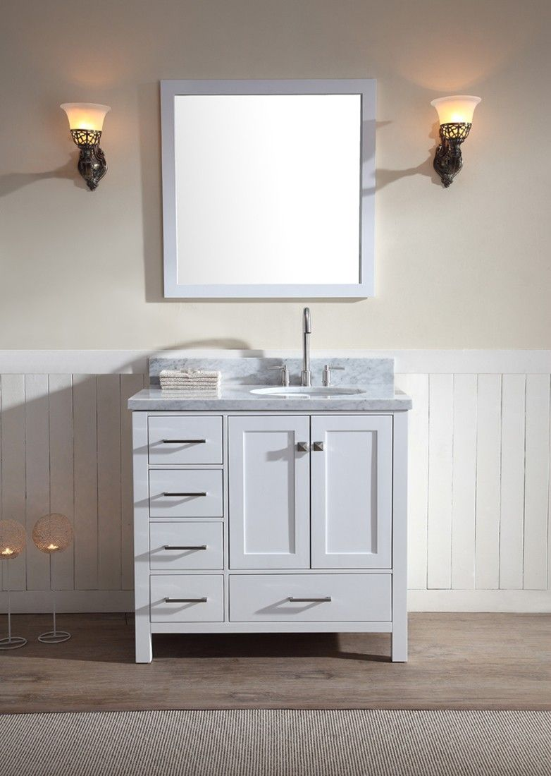 37 inch bathroom vanity. ARIEL Cambridge 37  Single Sink Vanity Set w Right Offset in White
