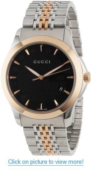 2a3e0e952a3 Gucci Men s YA126410 Gucci timeless Steel and Pink PVD Black Dial Watch   Gucci  Mens  YA126410  timeless  Steel  Pink  PVD  Black  Dial  Watch