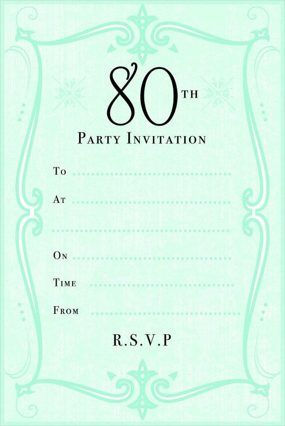 Green-80th-Birthday-Party-Invitation-jpg (585×873) 80 year old - birthday invitation template word