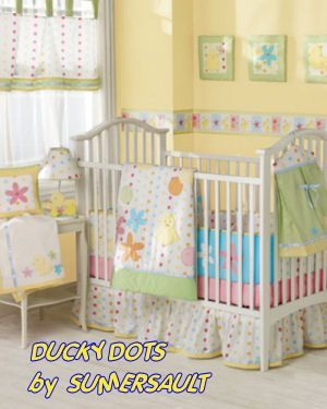 Baby Yellow Polka Dots Ducks Nursery Crib Bedding Set
