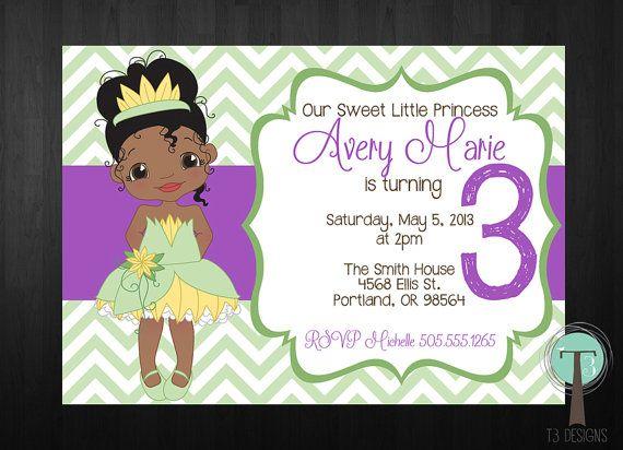 TIANA Birthday Invitation princess and the frog por T3DesignsCo – Princess Tiana Birthday Invitations