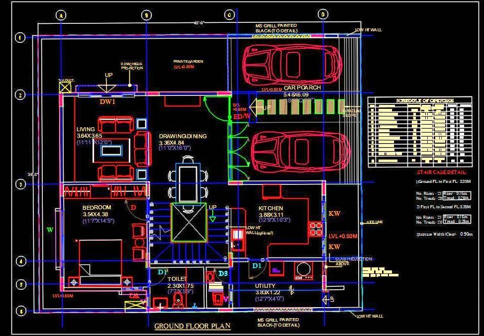 Independent House Planning 45 X40 Dwg File Independent House Duplex House Plans Parking Design