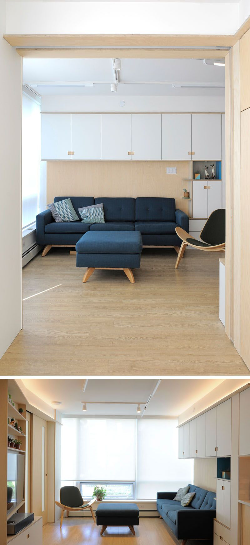 Plenty of creative small space storage solutions were added to this