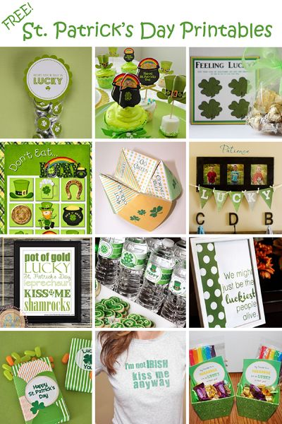 Over 50 FREE St. Patrick's Day Printables. Including Cupcake Toppers, Games, Banners, Water-bottle Labels, and More!
