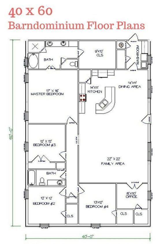 Barndominium floor plans 2 story 4 bedroom with shop for Barndominium floor plans with garage