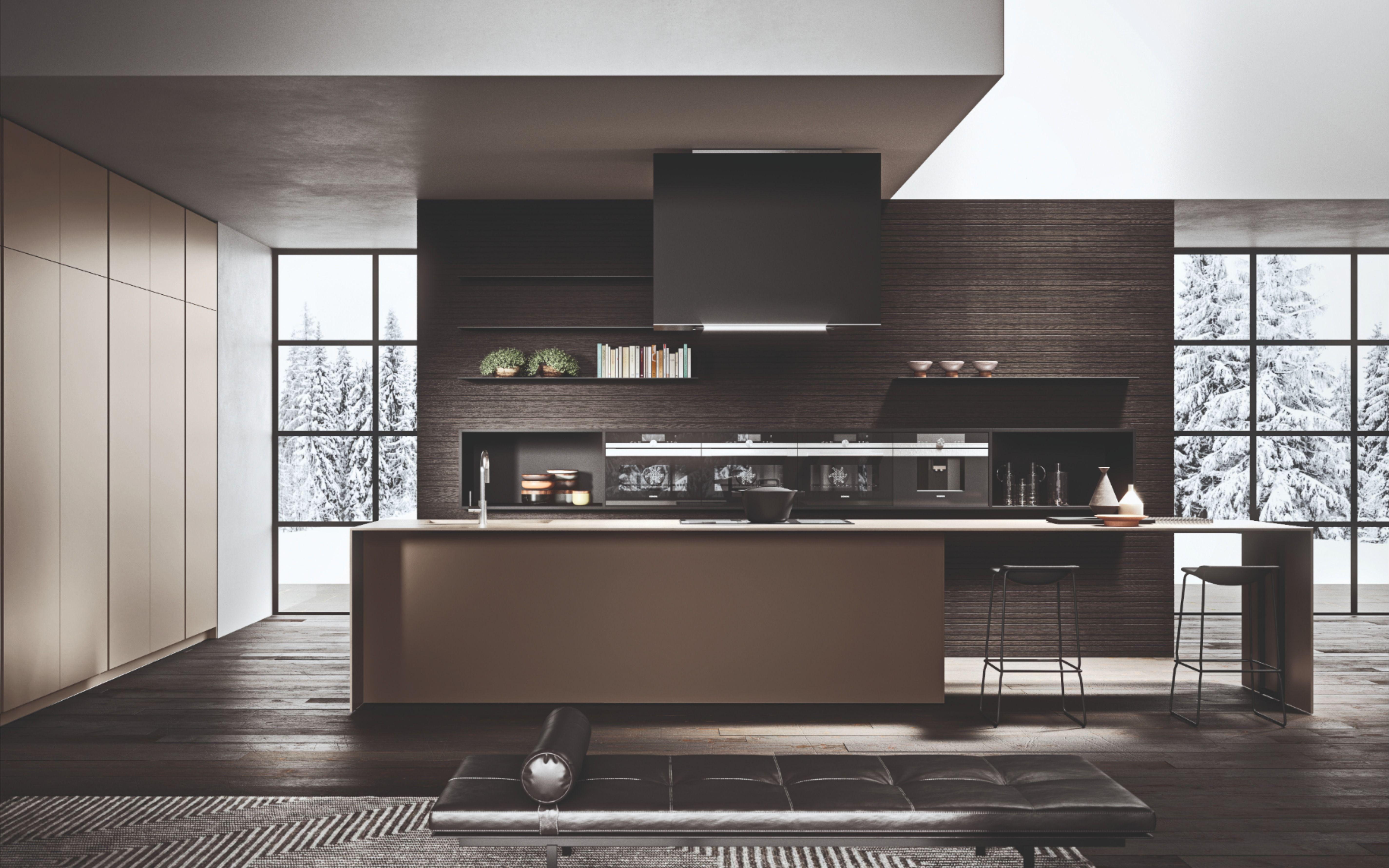 Sleek And Elegant Kitchen With Integrated Appliances In 2020 White Modern Kitchen Custom Kitchens Design Elegant Kitchens