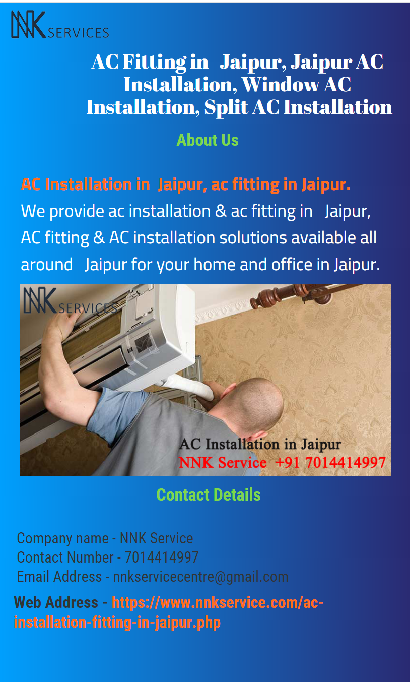 AC Installation in Jaipur, ac fitting in Jaipur. We