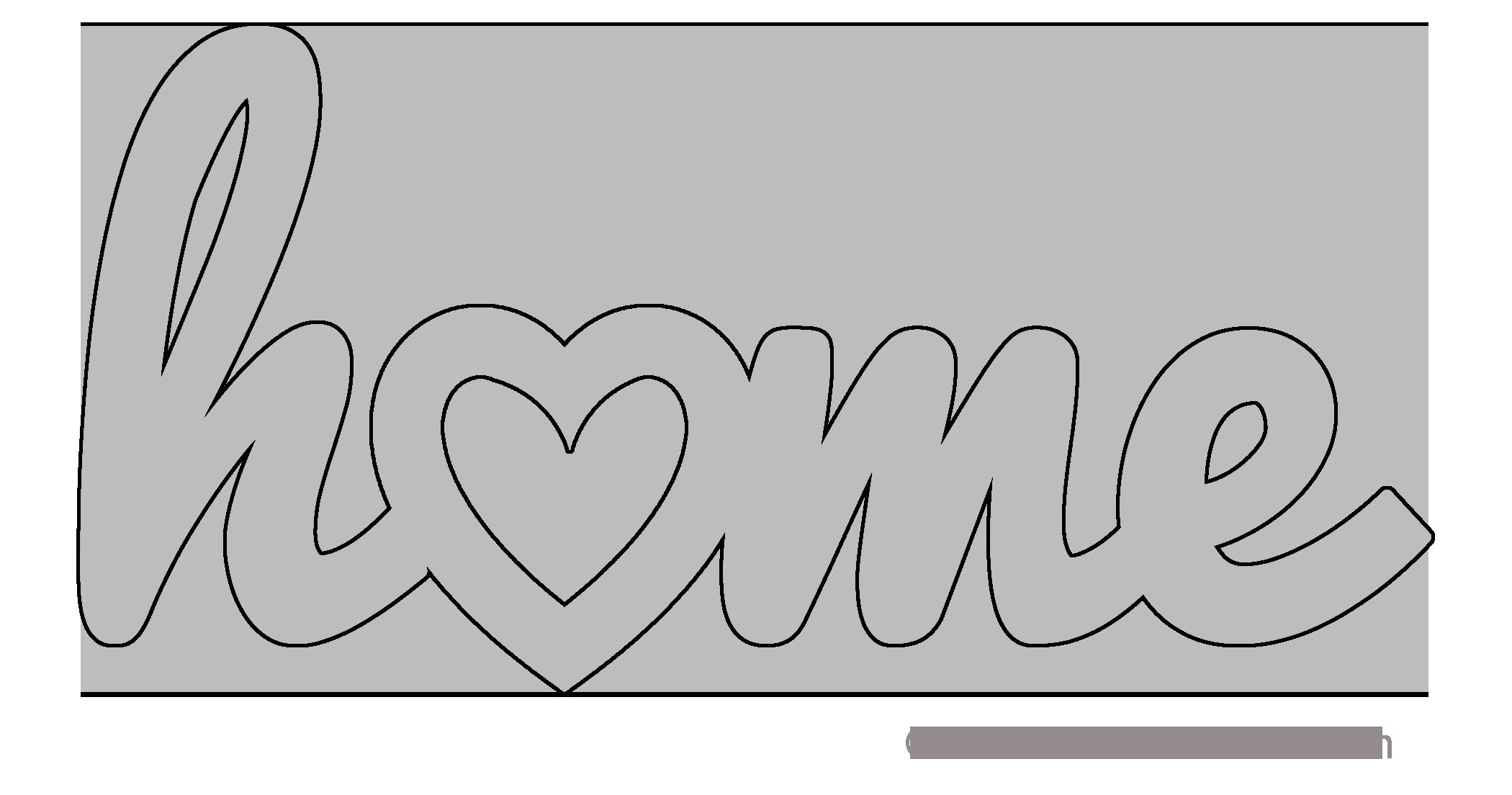 home heart pattern template stencil printable word art design