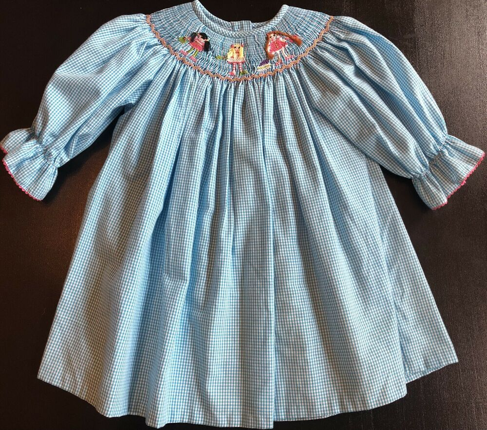 Outfit Spanish Style Baby Girl Blue Red and White Smocked Dress and Pants Set
