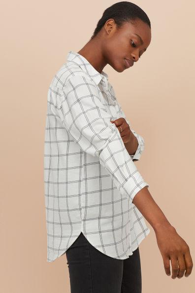 Wyszywana koszula CiemnoniebieskiBiała krata ONA | H&M PL