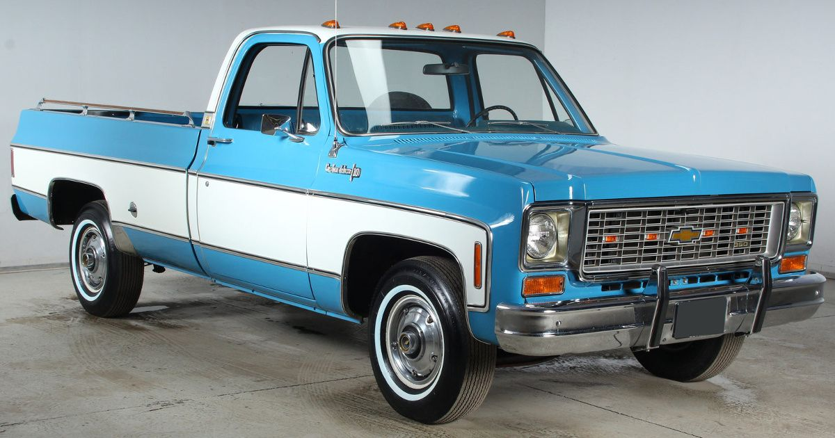 Example Of Skyline Blue Paint On A Gm 1974 Chevy Truck With