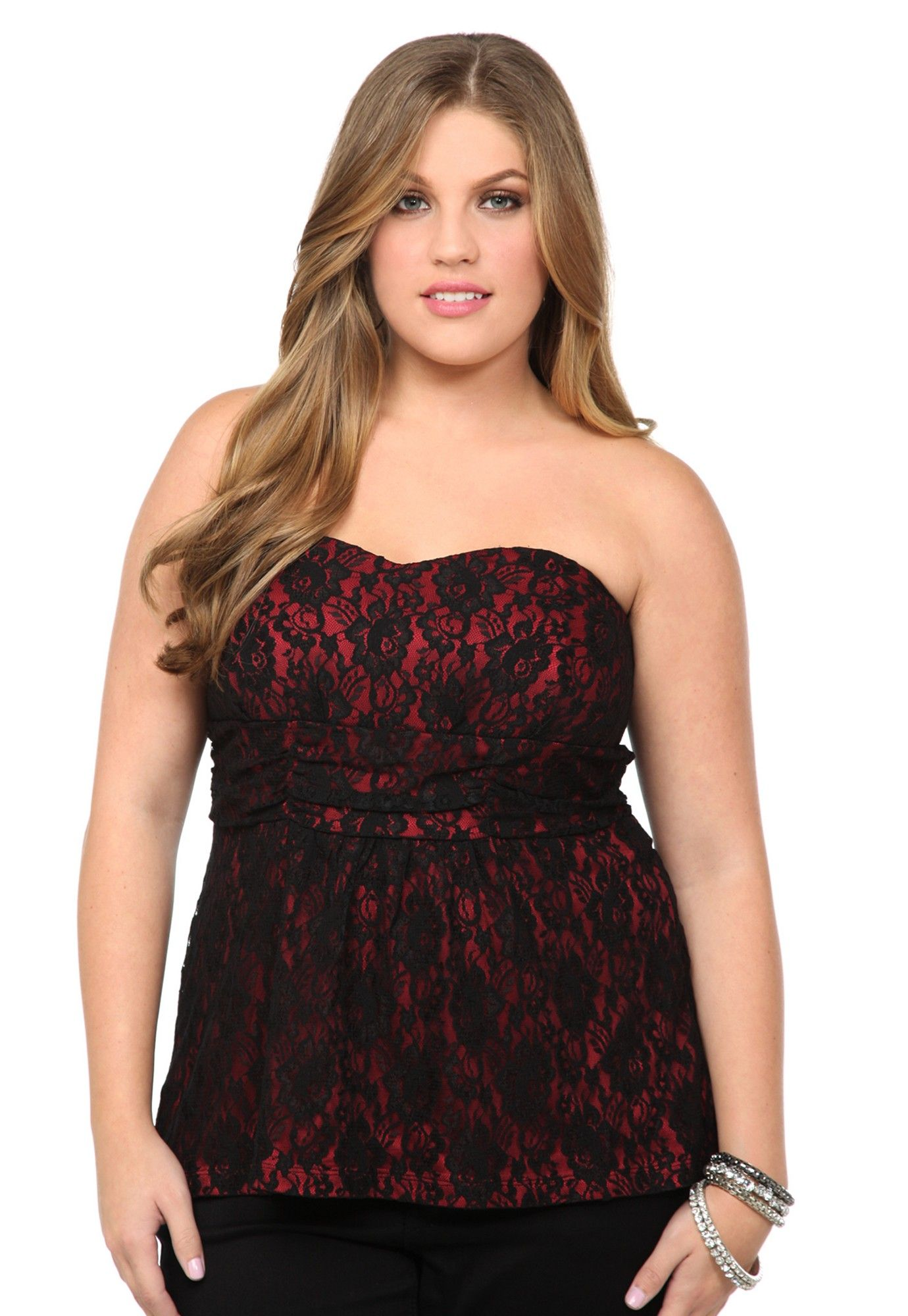 f235e7508f For a formal occasion Plus Size Red And Black Lace Tube Top image ...