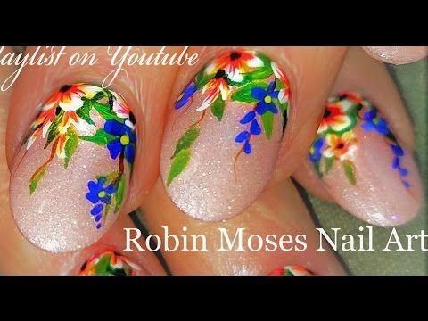 8 Hanging Flower Garden Nails Rainbow Floral Nail Art Design