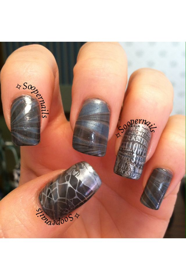Halloween watermarble | Holiday nails, Halloween nail art ...