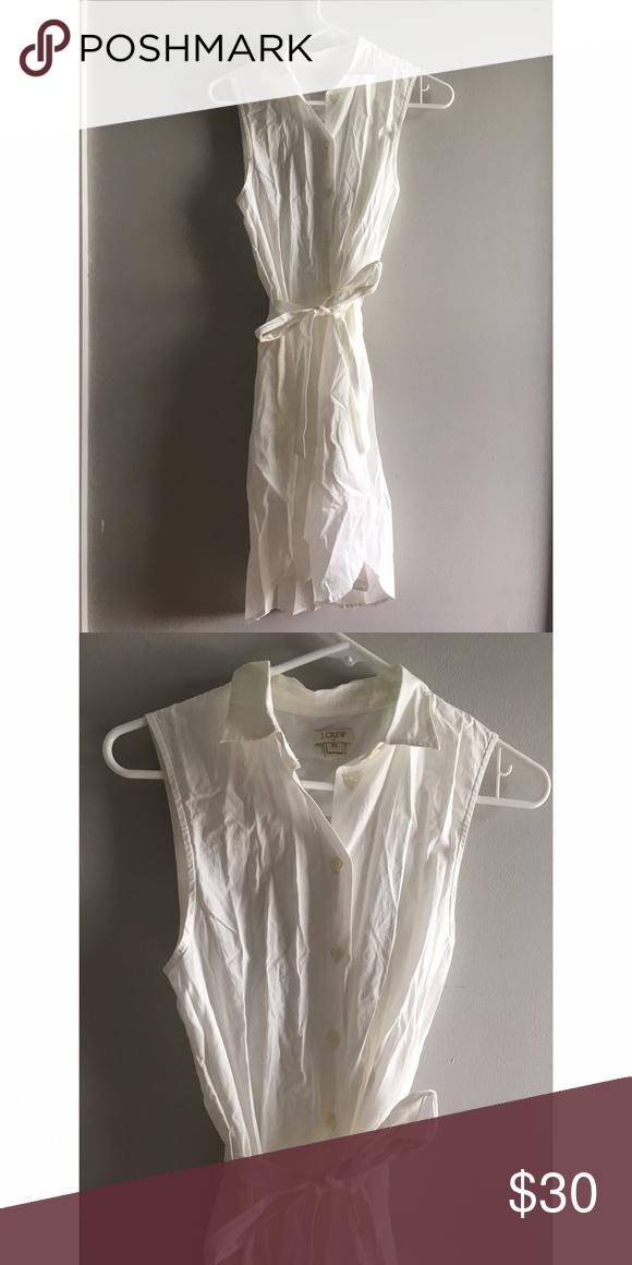 J. Crew Cotton Dress NWOT White cotton button up dress Never Worn! J. Crew Dresses