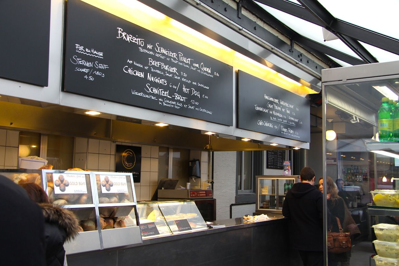 Sternen Grill in Zurich is a tasty quick and affordable spot to enjoy grilled bratwurst in the heart of the city.  www.traveladept.com