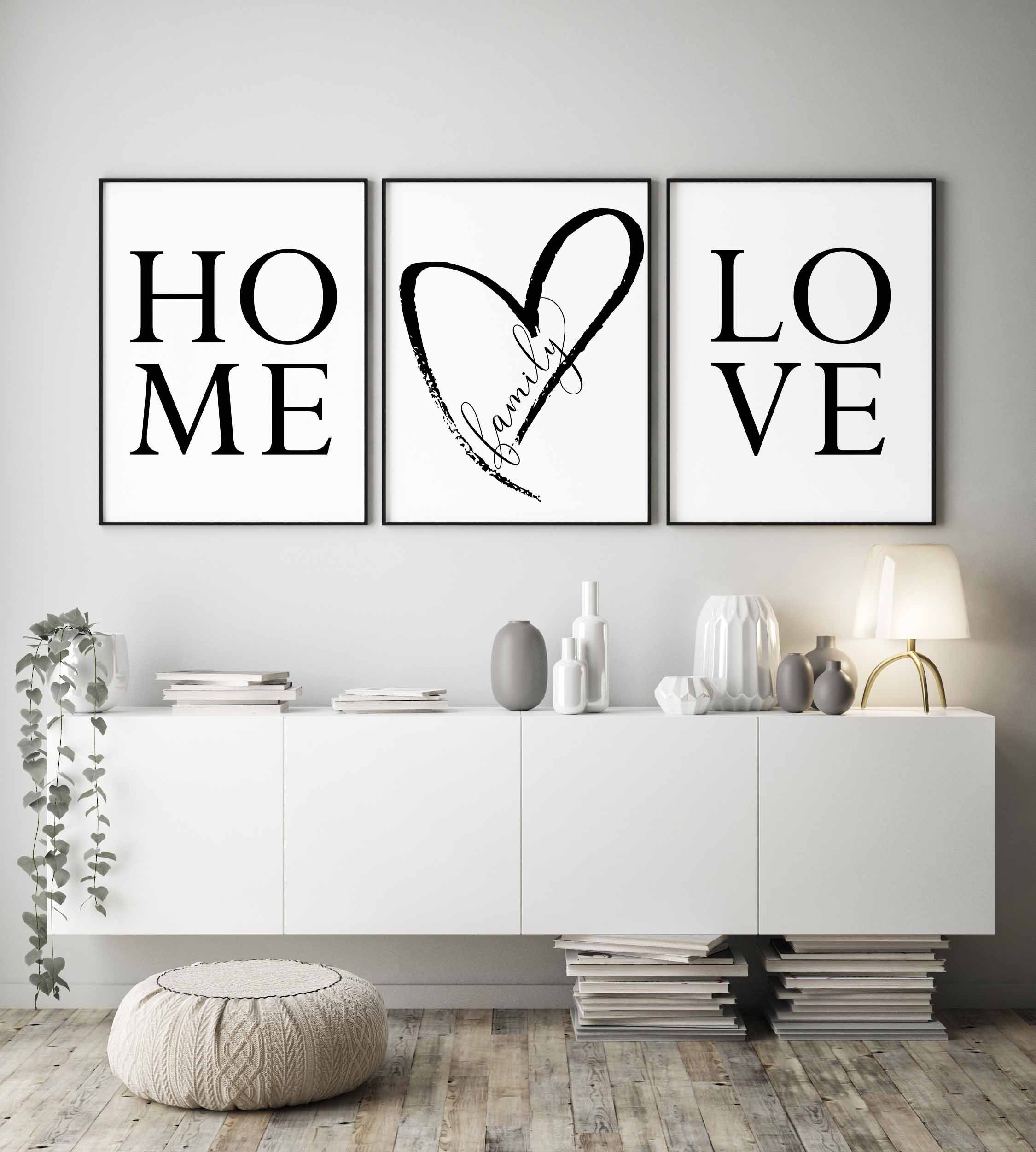 Family Sign Home Sign Wall Art Home Decor Set Of 3 Prints Family
