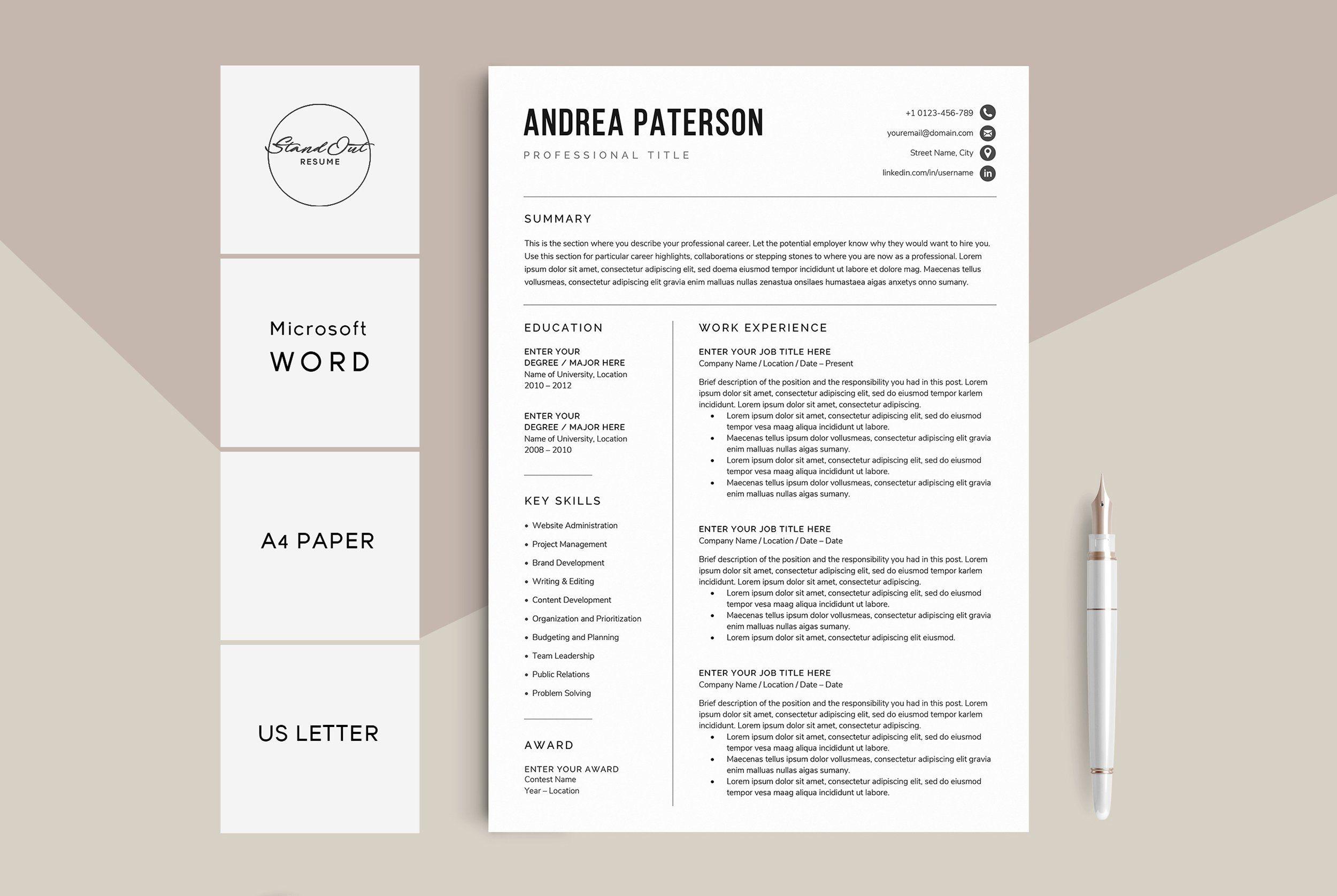 Resume Cv Template Andrea Resume Template Resume Design Resume Templates