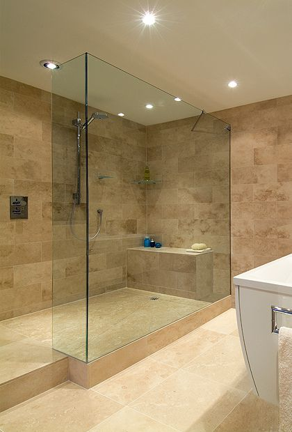 SSI Frameless L Shaped UV bonded Walk-In shower screen installed on ...