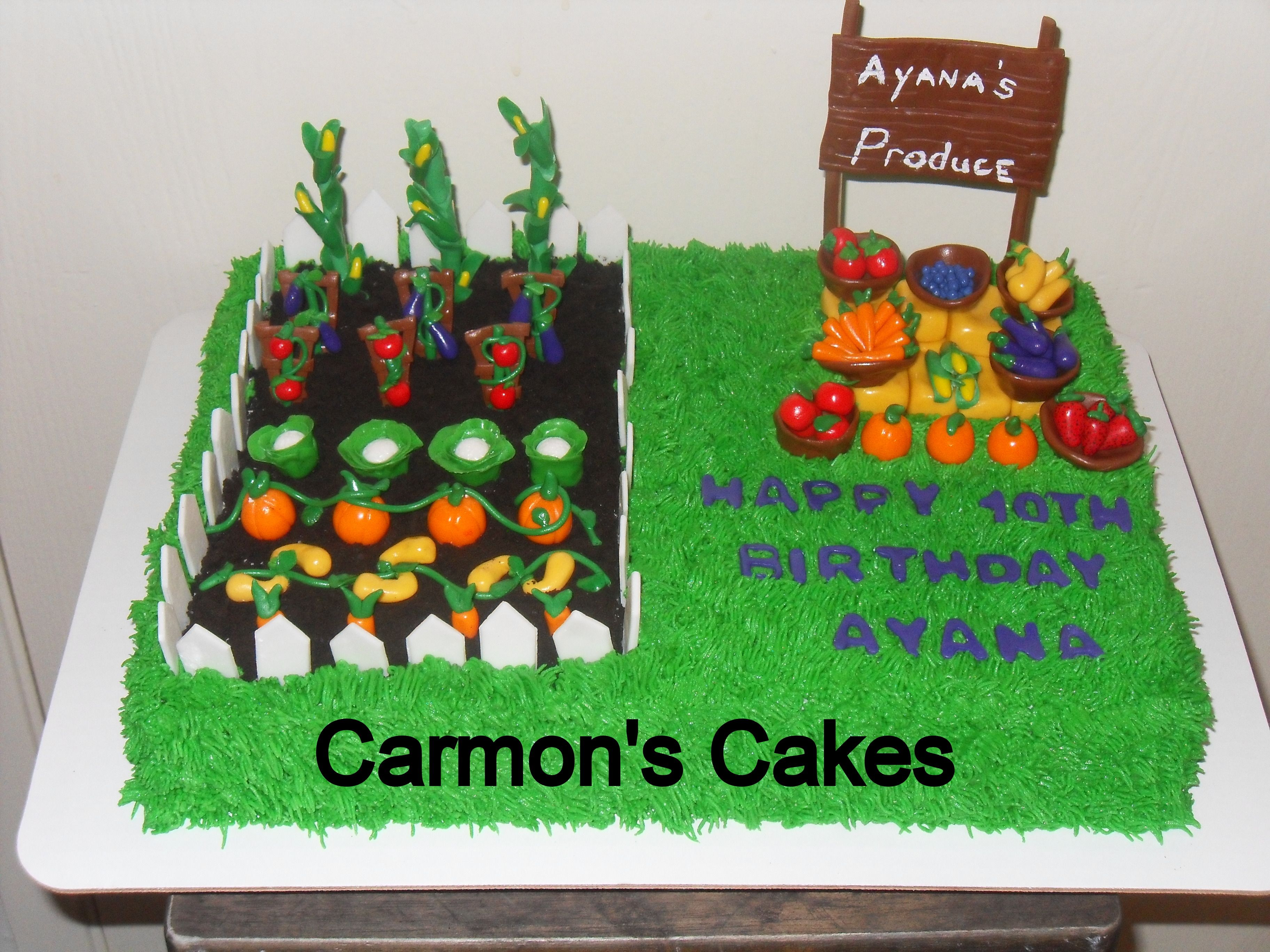 vegetable gardenfruit stand themed cake