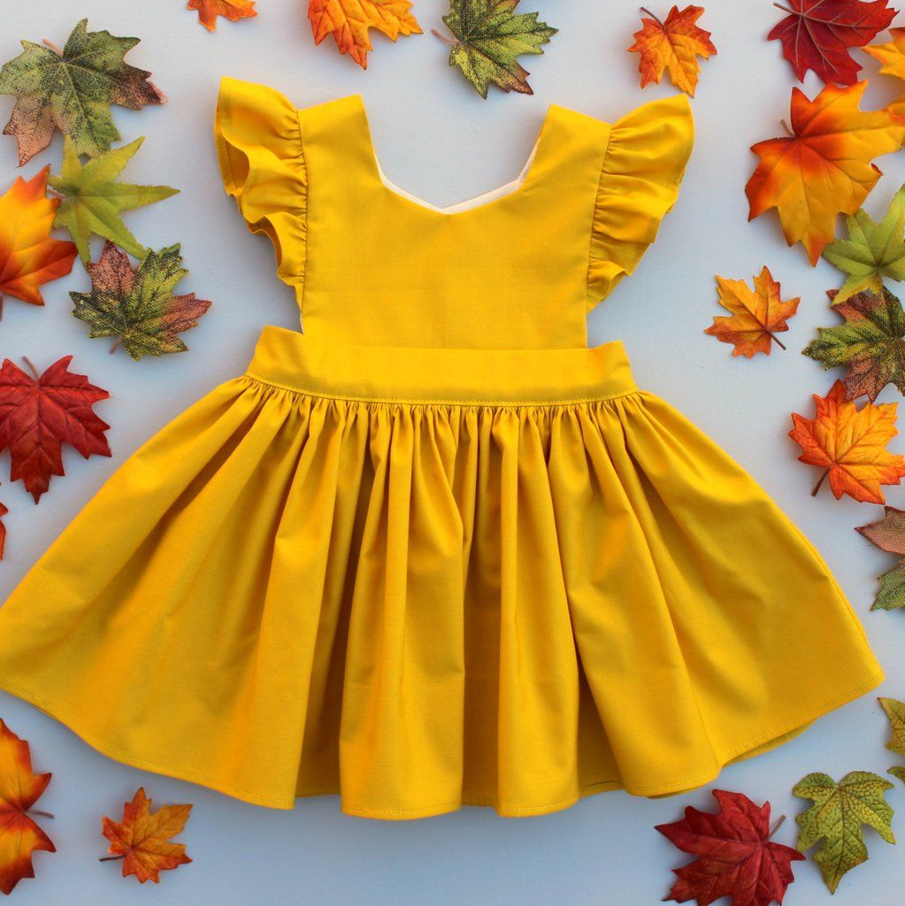 Cora pinafore dress in mustard for baby toddler little girl long
