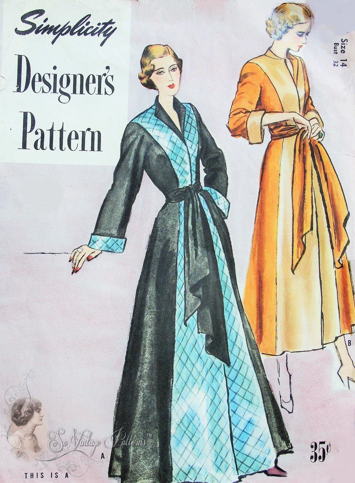 1940s Lovely Negligee Robe Hostess Gown Pattern Two Tone Formal Glam House  Coat Robe So Hollywood Movie Style Simplicity Designers 8042 Vintage Sewing  ... 10d1f627d