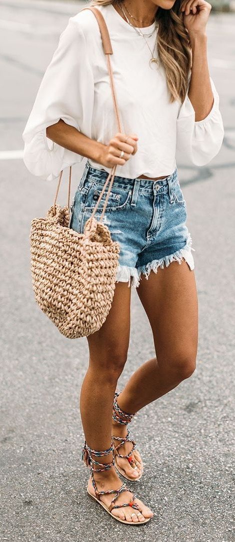 fccad64bd4d summer  outfits   white blouse + ripped denim short shorts