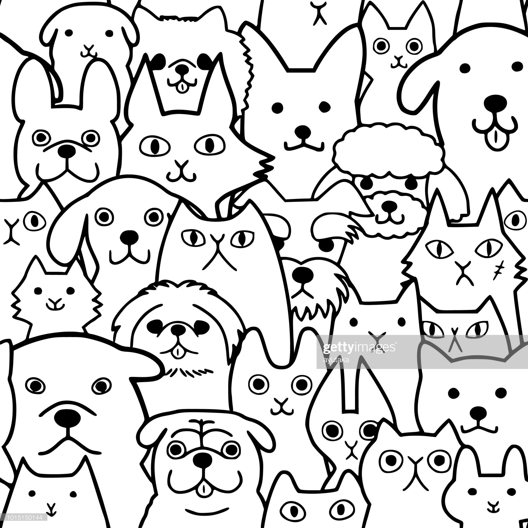 Seamless Doodle Dogs And Cats Faces Line Art Background Dog Line Art Line Art Vector Doodle Dog