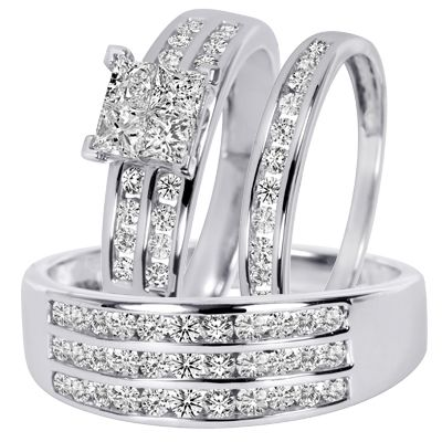 1 23 carat tw diamond trio matching wedding ring set 10k white gold - Wedding Ring Trio Sets