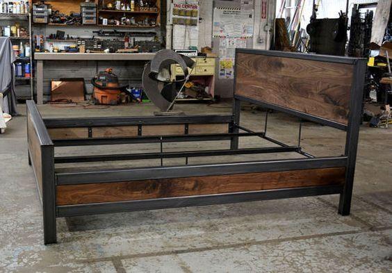 Cool 47 Impressive Vintage Bed Design Ideas Using Wood Steel Bed Design Industrial Bed Frame Welded Furniture
