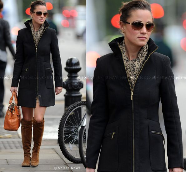 love this coat and that she is wearing her hair up & back (because thats how i wear mine most days...)