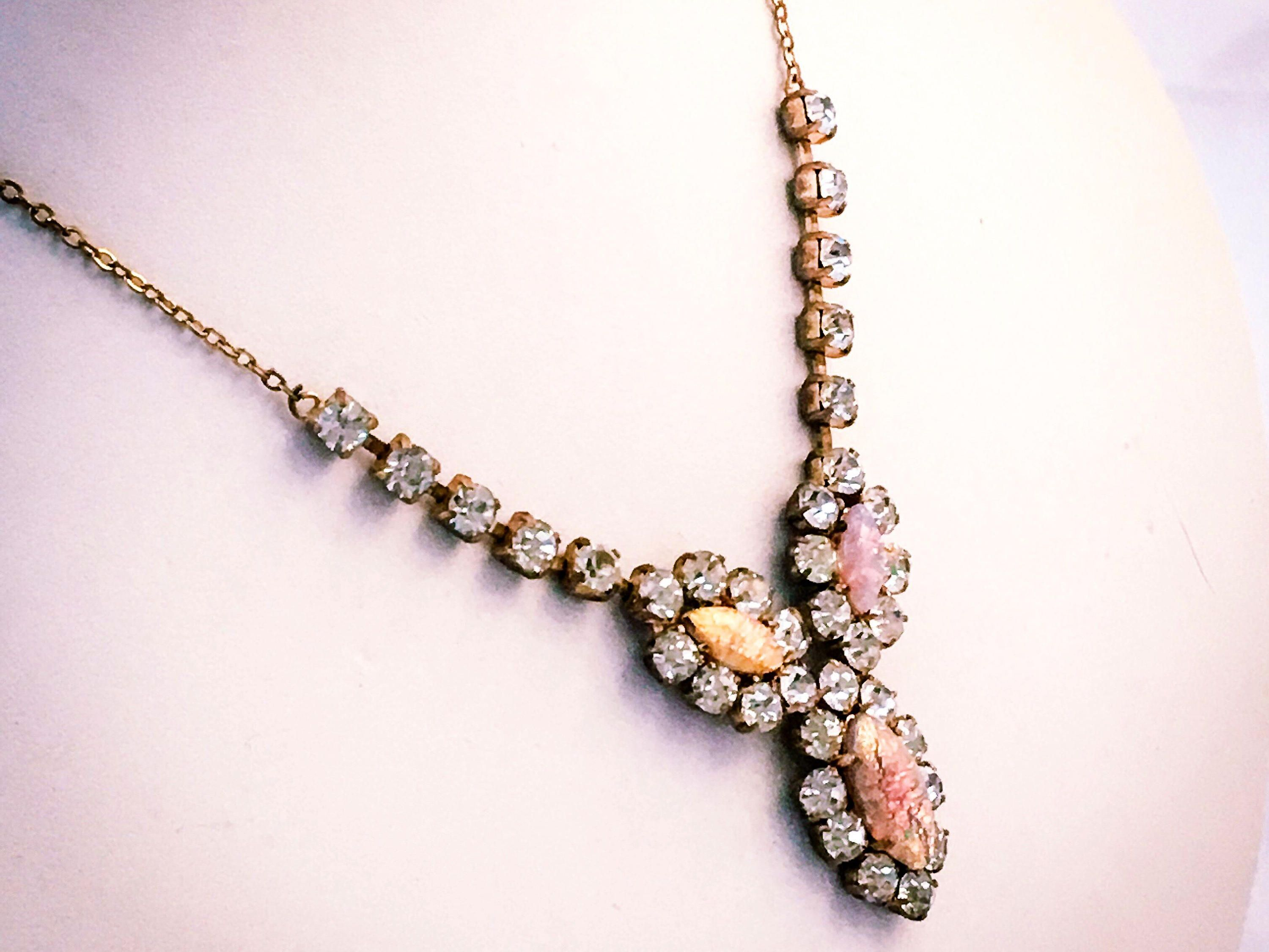 vintage crystal renta la de necklace runway clear oscar pin