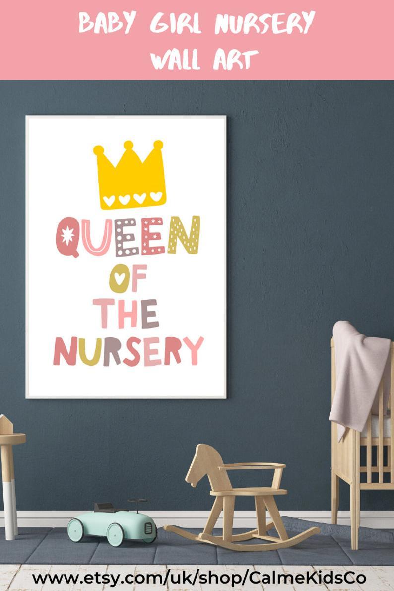 Girl Nursery Decor Nursery Wall Art Queen Of The Nursery Print Baby Shower Gift For Girl Girls Blush Pink Nursery Instant Download In 2020 Nursery Decor Girl Baby Girl Nursery Wall