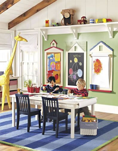 Play Spaces 32 #potterybarnkids love the art display / chalkboard / easel