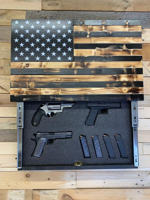 Black & Burnt mini Slide Up Etsy Wooden american flag
