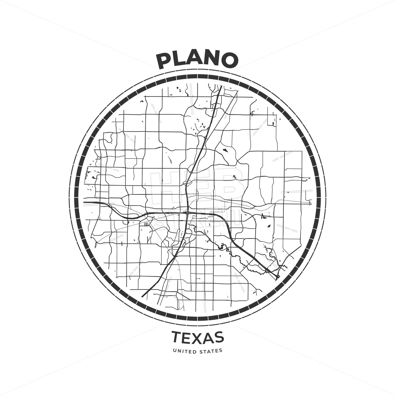 T Shirt Map Badge Of Plano Texas Streit