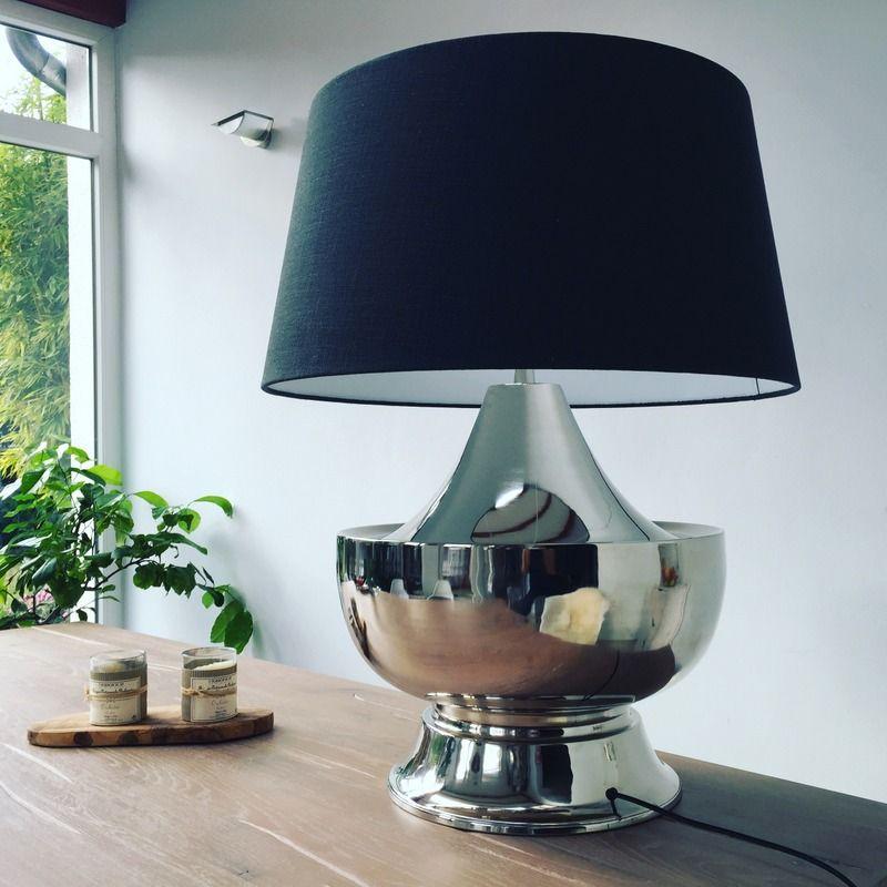 tischleuchte verchromt mit schwarzen lampenschirm licht beleuchtung pinterest. Black Bedroom Furniture Sets. Home Design Ideas
