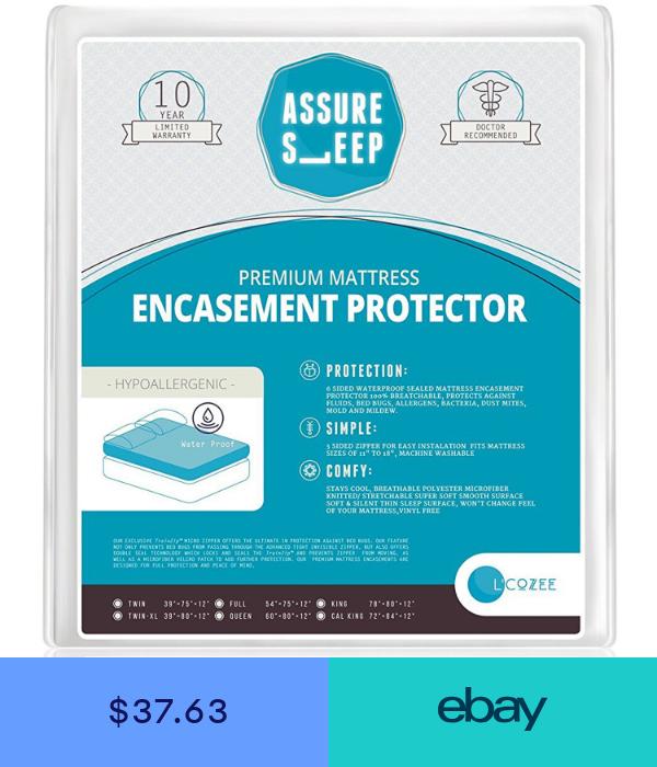 Waterproof Zippered Mattress Encasement Cover 6 Sided