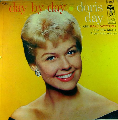 Here's our favorite Girl Next Door, Doris Day, on the cover of a record album, mid 50s.