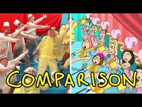 La presentación de Family Guy hecha con personas de carne y hueso - Comparación con el original - http://2ba.by/wam5