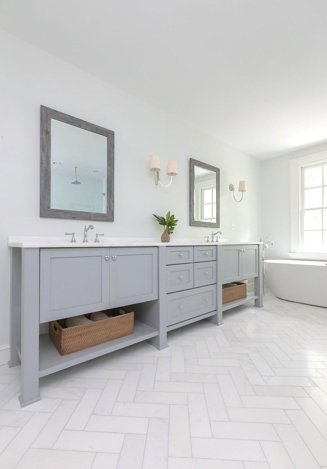 Gilded Mint Herringbone Marble Floor Master Bathroom Renovation Small Bathroom Floor Cabinet