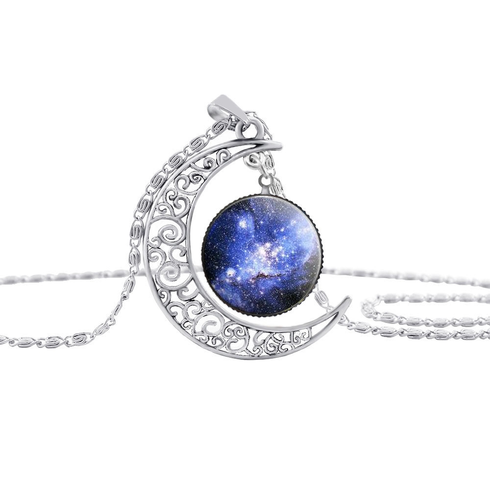 watch here moon starry sky colorful glass pendant necklace