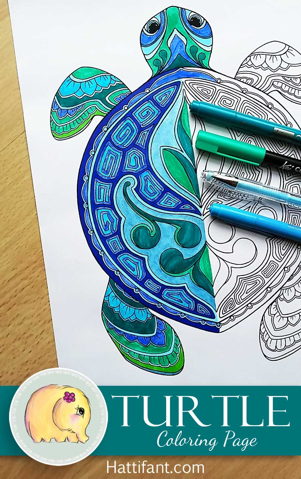 Printable Turtle Coloring Pages For Adults