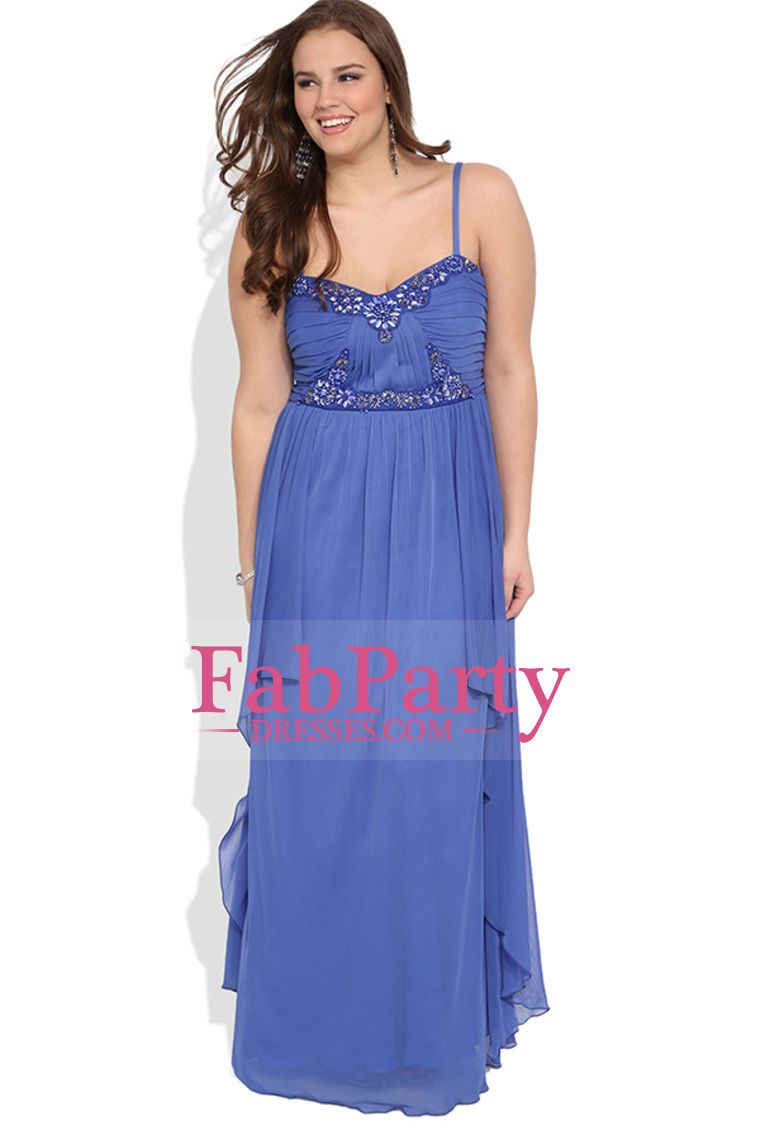 Plus Size Long Chiffon Prom Dress With Ruched Stone Bodice And ...