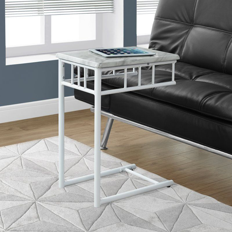 Monarch Specialties Marble Top C Shaped End Table I 3083 - C Tables for sofas