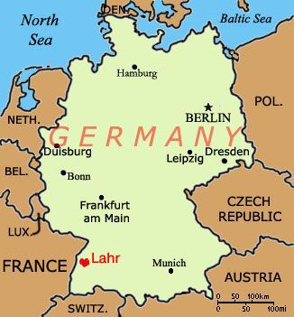 Map Of Countries Near Germany.Map Lahr In Red Heart So Close To Many Countries And